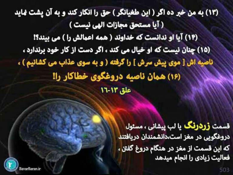 آیا این مطلب که مغز قسمت دروغگویی دارد در قرآن آمده است?